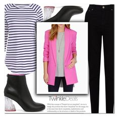 """TwinkleDeals"" by cherry-bh ❤ liked on Polyvore featuring EAST, blazer, striped, polyvorelook and twinkledeals"