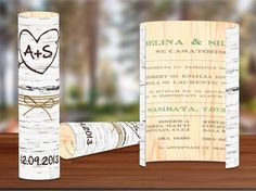Invitație ce imită trunchiul unui copac de mesteacăn (dimensiune 20x20cm, carton 300gr mat).