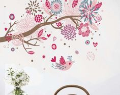 Bohemia Colorful Bird Flower Wall Sticker Wall Decals Home Decor