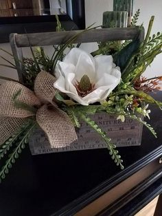 Vintage Tool Caddy with Magnolia, Vintage Centerpiece, Farmhouse Decor, Magnolia & Burlap Tool Caddy by LadybugWreathDesigns on Etsy #homedecoraccessories