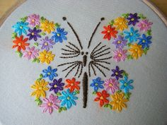 Butterfly Embroidery with flower wings – love this, but do I have the patience a… – Handwerk und Basteln Floral Embroidery Patterns, Hand Embroidery Videos, Embroidery Flowers Pattern, Butterfly Embroidery, Embroidery Works, Flower Embroidery Designs, Creative Embroidery, Simple Embroidery, Hand Embroidery Stitches