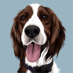 Vector Pets turns your photograph of your beloved pet into a beautiful illustration. Our service comes in two styles, Cartoon and Detailed. We can create vectors of any animals. These make great gifts or piece of artwork for yourself of your most cherished pets. #petillustration #dogillustration #dogvector #dogart #dogportrait #illustrations #dogs #ilovedogs #petportraits #cutedog #dogportraitcommissions #dogartwork #petartwork #petdrawing #doggiftideas #dogkeepsake #spanieldog… I Love Dogs, Cute Dogs, Dog Artwork, Dog Nose, Dog Vector, Art Et Illustration, Spaniel Dog, Dog Paintings, Dog Portraits