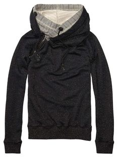 Home Alone Sweater With Double Layer Hood > Womens Clothing > Sweaters at Maison Scotch - Scotch & Soda Online Fashion & Apparel Shop Looks Style, Style Me, Pullover Mode, North Face Hoodie, North Face Jacket, Sport Outfit, Sweater Layering, Comfy Hoodies, Sweatshirts