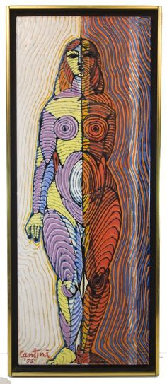 "Virgil Cantini Standing Woman Enamel 10"" x 26"". Signed, 1972. Framed."