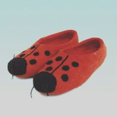 Red. Ladybug. Home slippers