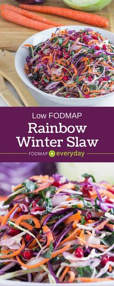 Making this colorful salad was like a burst if sunshine brought inside and piled into a bowl. It is crunchy and super colorful. Talk about eating the rainbow! Low FODMAP Rainbow Winter Slaw
