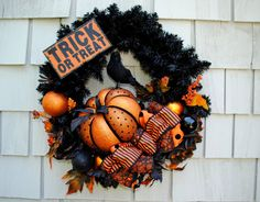 "Halloween Wreath Trick or Treat Sign 20"" Wreath Base Large Sparkle Pumpkin Bats Spiders Spooky Black Orange White by TisTheSeasonDesign on Etsy"
