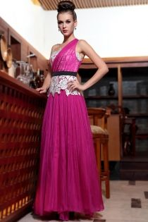 Fuschia One Shoulder Graduation Dress Chiffon Sleeveless Long Beaded Lace Applique Gown