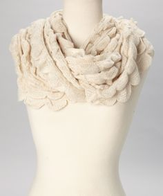 Beige Scallop Knit Infinity Scarf   Daily deals for moms, babies and kids