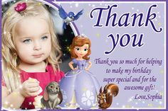 Sophia the first  thank you card disney by SuperBirthdayParty, $6.99