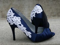 Navy Blue Wedding Shoes With Venise Lace Applique. Navy Blue Wedding Shoes, Blue Bridal Shoes, Wedge Wedding Shoes, Blue Wedding Dresses, Wedding Heels, Navy Shoes, Wedge Shoes, Wedding Blue, Navy Blue Wedges