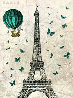 Eiffel Tower with Hot Air Balloon and Butterflies - Digital Print £8.50