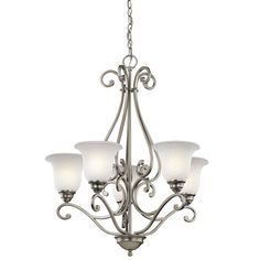 Antique Brushed Nickel Glass Chandelier > $210.00 with Five White Shades - http://ynueco.net/antique-brushed-nickel-glass-chandelier-210-00-with-five-white-shades/