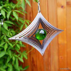 Windspiel Edelstahl  Karo Windrad Glaskugeln Garten Kugellagerwirbel