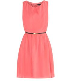Coral Chiffon Belted Skater Dress
