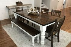 7 L x 37 W x 30 H Baluster Table with a traditional tabletop stained Dark Walnut with an Ivory painted base. Pictured with a Dianne Bench and Henry Dining Chairs. Tables Étroites, Narrow Dining Tables, Rustic Dining Chairs, Small Dining, Round Dining, Rustic Furniture, Modern Furniture, Dining Furniture, Turned Table Legs