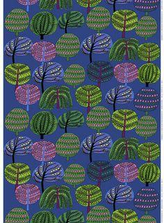 Isoisän Puutarha Fabric Blue/Green/Pink-Marimekko