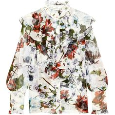 ErdemKelsey Ruffled Floral-print Silk-voile Blouse ($1,305) ❤ liked on Polyvore featuring tops, blouses, white, silk blouses, white ruffle blouse, floral blouse, white silk camisole and white cami