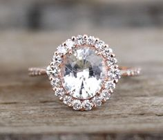 GIA Certified Oval White Sapphire & Diamond Halo Engagement Ring in 14K Rose Gold