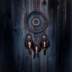 Large dream catcher Brown dreamcatcher Blue dreamcatcher Indischer wandbehang Traumfänger Atrapasueños Bedroom dreamcatcher  Feathers decor