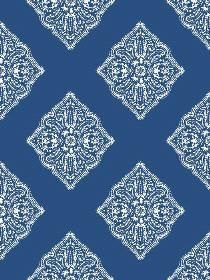 Wallpaper Henna Tile pattern AT7030. Keywords describing this pattern are diamond lattice, wallpaper, French, pre-pasted.  Colors in this pattern are Blue, Medium Gray.  Alternate color patterns are AT7028;Page:67;AT7026;Page:68;AT7027;Page:70;AT7029;Page:71.  Product Details:  Material is Non-Woven. Product Information:  Book name: Ashford Tropics Pattern name: Henna Tile Pattern #: AT7030 Repeat Length: 10 1/4 inches.  Pattern Length: 16 1/2 inches.  Pattern Length: 20 1/2 i...