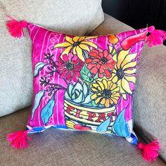 Fiesta Flowers art pillow with tassels Floral Throws, Floral Throw Pillows, Designer Throw Pillows, Desert Art, Southwest Art, Cactus Art, Pillow Cover Design, Wood Ornaments, Coral Pink