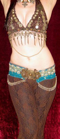 DESERT NOMAD - Professional Tribal Fusion Belly Dance ATS Bra Halter Top Costume. $125.00, via Etsy.