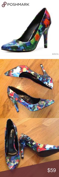 """Nine West """"Gwendle"""" Pumps Sz 8.5 Fun and sexy!!  Nine West's classic pair of pumps, """"Gwendle"""" feature a faux snakeskin Print and a floral pattern to add a pop of color to and outfit. NIB. Nine West Shoes Heels"""