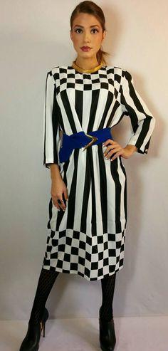 Vintage 80's Women's Dress/Women's Black & White by ReDoneByShari