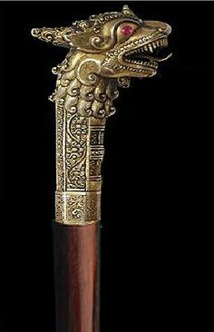 Sri Lankan Dragon Walking Stick- silver, gold (golded), pink sapphires
