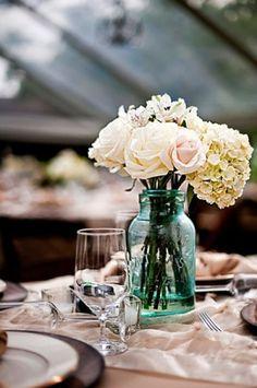 #mason #jar #floral arrangement #centerpiece