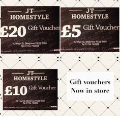 Gift vouchers now in store