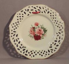 Baum Brothers Formalities Porcelain Victorian Rose Cutwork Pierced Plate by LikeNewShop on Etsy Ceramic Plates, Decorative Plates, Antique China Dishes, Plates And Bowls, Cutwork, Bone China, Trays, Vases, Porcelain