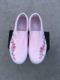 New arrival! Custom womens vans with rose applique. Roses are applied by professionals and will not fall off or decay overtime. These custom vans shoes are not sold anywhere else but here at Rebcoshop! Rose vans are tending now dont miss out! Shop with confidence all shoes are 100%