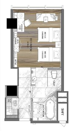 Langham Place, Xiamen Superior Room 42 m2 / 452 ft2 Hotel Floor Plan, House Floor Plans, Master Bedroom Plans, Studio Apartment Layout, Floor Plan Drawing, Superior Room, Hotel Room Design, Room Planning, Bedroom Layouts