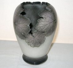 ASTONISHINGLY Intricate SCULPTURAL Signed CRACKLE Pottery VASE Incredible LEAVES