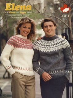His & Her Pullover Sweater with round or Turtleneck Vintage Knitting Pattern for download 32-46