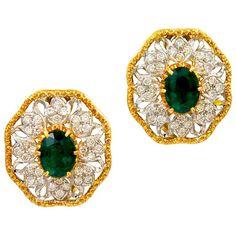 MARIO BUCCELLATI Diamond and Emerald Lacy Ear Clips