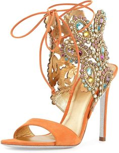 Multi-Crystal Crown Ankle Wrap Sandal, Orange - Rene Caovilla - Orange from Neiman Marcus. Stilettos, Strappy High Heels, Strappy Sandals, Shoes Sandals, Orange Sandals, Orange Shoes, Blue Orange, Cute Shoes, Me Too Shoes
