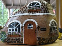 Brown Cottage (Rock painting - fairy garden house)