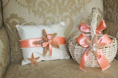 coral flower girl basket ring bearer pillow boutonniere for a beach wedding destination wedding beach themed wedding basket with starfish
