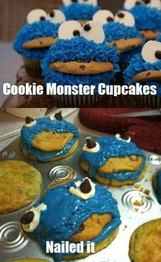Pinterest Fail 2:  COOKIE MONSTER cupcakes?  cookie MONSTER cupcakes.