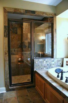 Shower dark tile stone glass walls