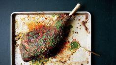 Slow-Grilled Leg of Lamb with Mint Yogurt and Salsa Verde Recipe | Bon Appetit