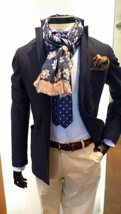 Great floral scarf added to a smart-casual mens' outfit.