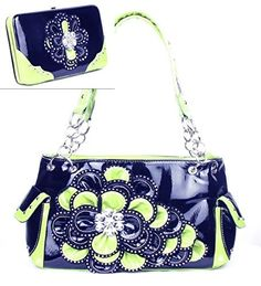 Black and Lime Green Rhinestone Flower Pocket Purse W Matching Wallet *** Learn more by visiting the image link. (This is an Amazon Affiliate link and I receive a commission for the sales)