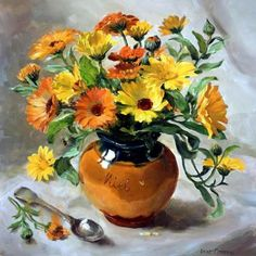 Marigolds in a Honey Jar | Mill House Fine Art – Publishers of Anne Cotterill Flower Art