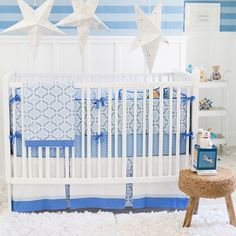 Designer crib bedding Blue and White Carousel Baby Bedding Set custom made in the USA. Choose matching window drapes to complete your nursery decor Modern Baby Bedding, Baby Boy Bedding Sets, Baby Boy Cribs, Baby Boy Rooms, Modern Crib, Crib Accessories, Baby Changing Tables, Bed Design, Carousel