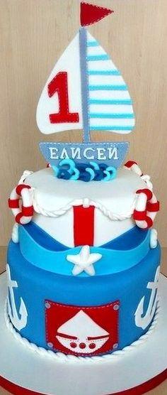 Nautical Birthday Cake Nautical Birthday Cakes, Nautical Party, Creative Cakes, Creative Kids, Cupcake Cakes, Cupcakes, Inspiration For Kids, Party Cakes, Cake Decorating