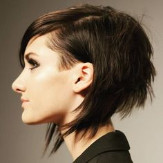 short angled layered bob